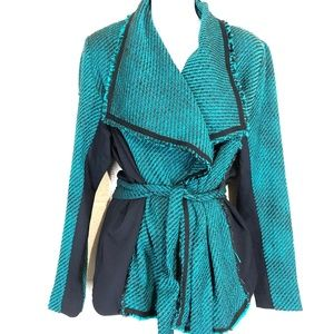 LANE BRYANT Green Tweed Blazer Jacket & Belt 14/16